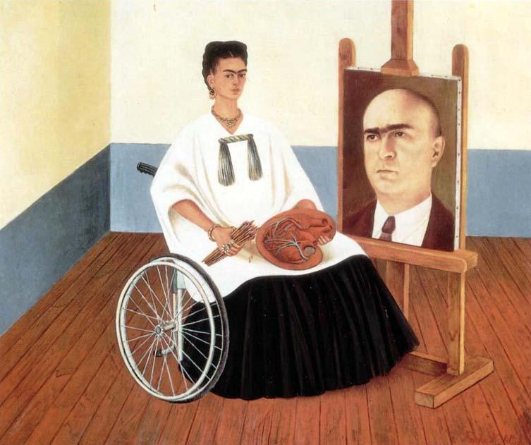 autorretrato con el retrato del dr farill oleo 1951